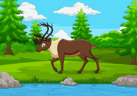 Cartoon elk in the forest 向量圖像