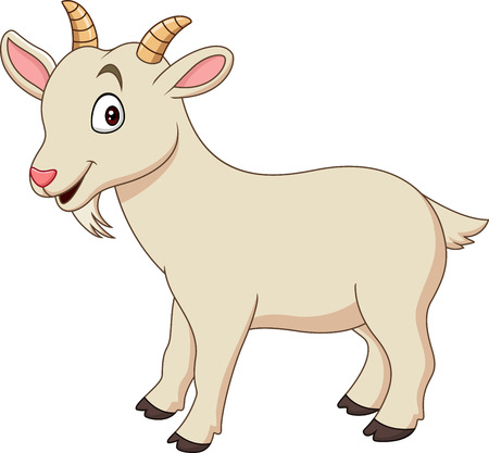 Cartoon funny goat isolated on white background