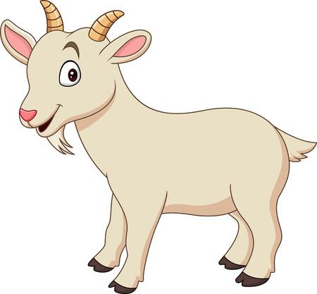 白い背景に隔離漫画面白いヤギ