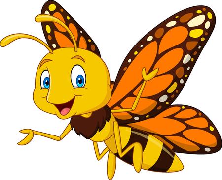 Dessin animé, heureux, papillon Vecteurs