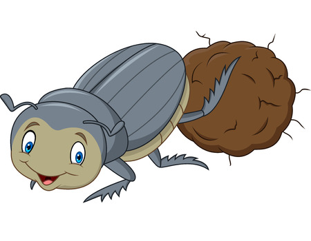 Dung Beetle with a Big Ball of Poop Cartoon 版權商用圖片 - 102626221