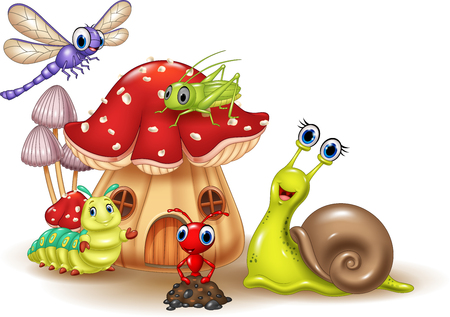 cartoon gelukkige kleine dieren Vector Illustratie