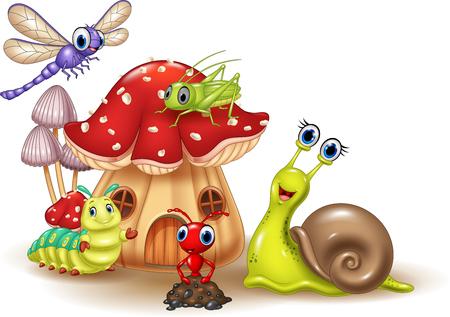 kreskówka szczęśliwe małe zwierzęta Ilustracje wektorowe