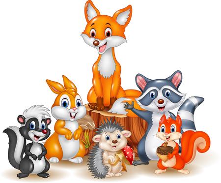 Dibujos animados de animales salvajes felices Ilustración de vector