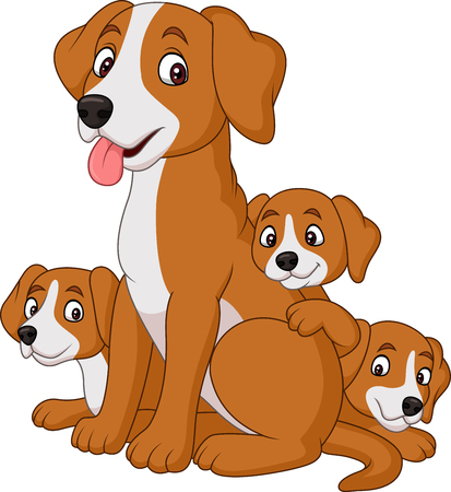 Cartoon mother dog with her cute puppies Illustration
