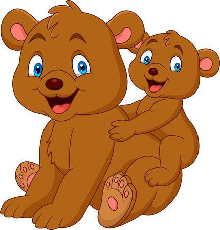Mother and baby bear cartoon Illustration