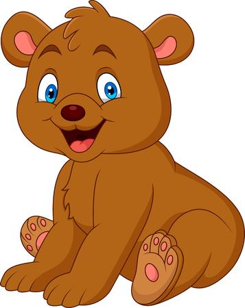 Cartoon happy baby bear Stock Illustratie