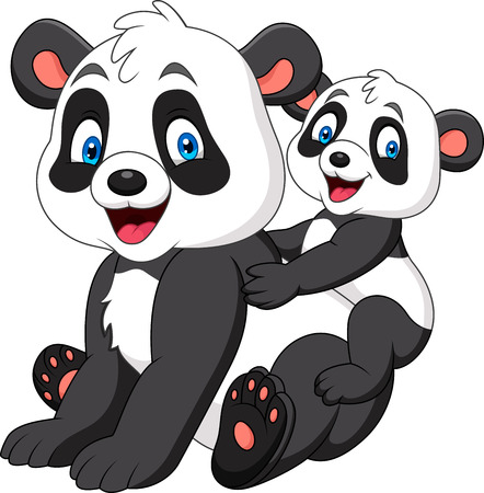 Cute mother and baby panda