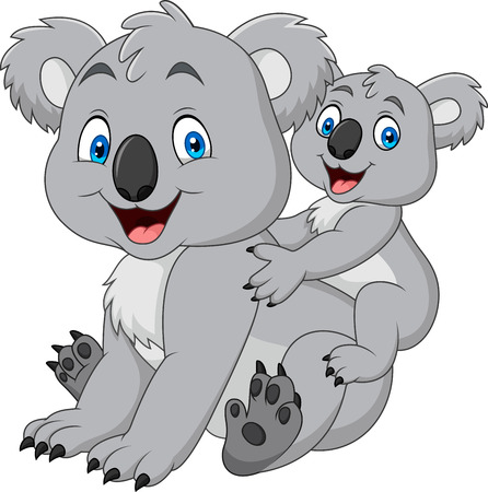 Mother and baby koala Illustration
