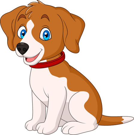 Cartoon cute dog wearing a red collar Illustration