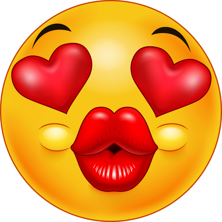 Cute kissing emoticon with hearts of eyes as an expression of love