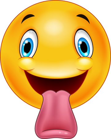 Cartoon emoticon sticking out a tongue