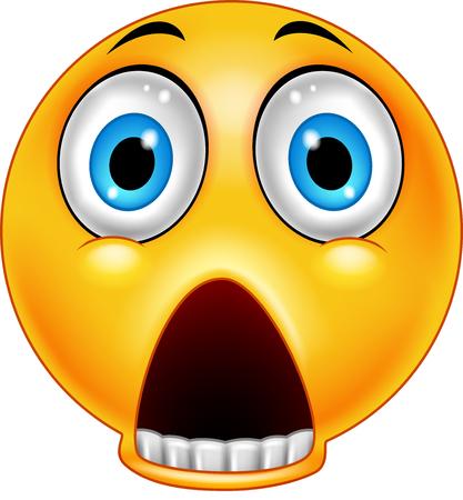 Erschrockenes Emoticon mit gesenktem Kiefer