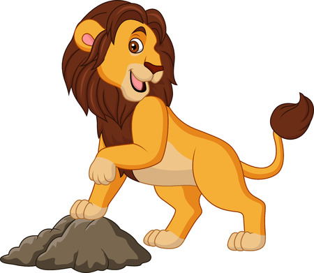Cartoon smiling lion posing