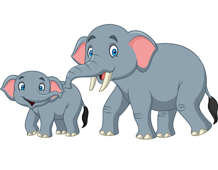 Cartoon happy mother and baby elephant Illustration