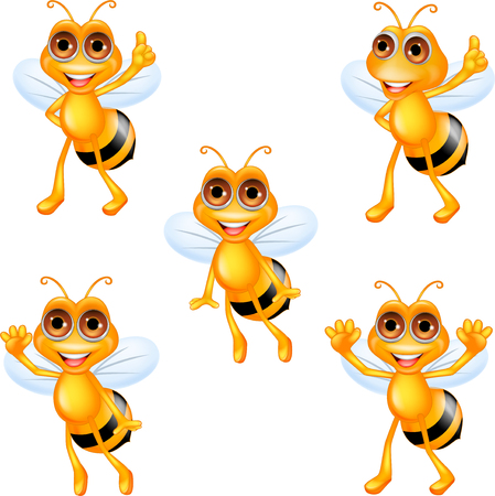 Cartoon bee collection set Illustration