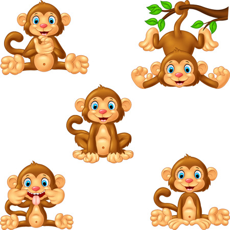 Cartoon monkey collection set