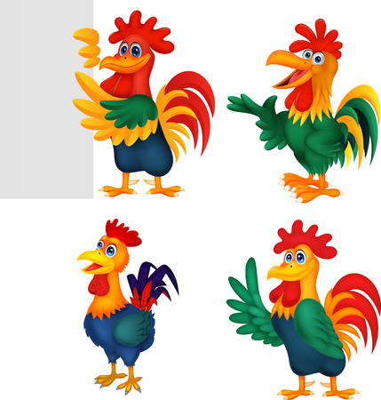 Cartoon rooster collection set