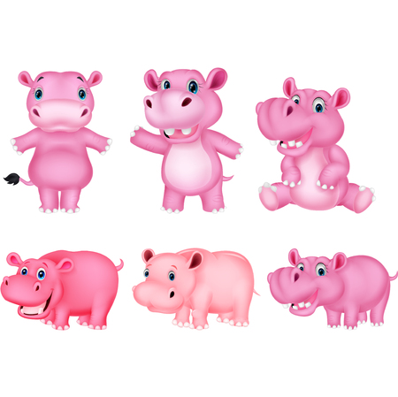 Cartoon hippo collection set Illustration