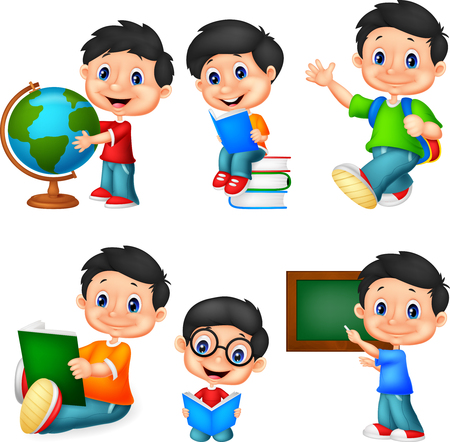 Cartoon little boy collection set