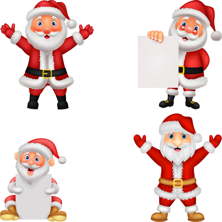 Happy Santa Clause cartoon with sign