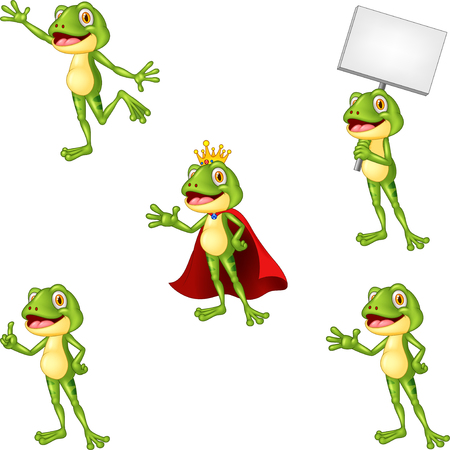 Cartoon frog collection set