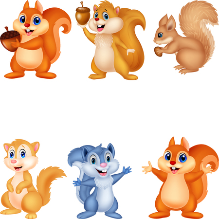 Cartoon squirrel collection set Illustration