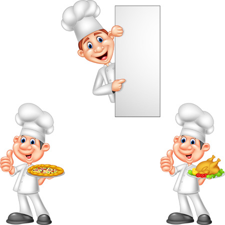 Cartoon chefs collection set
