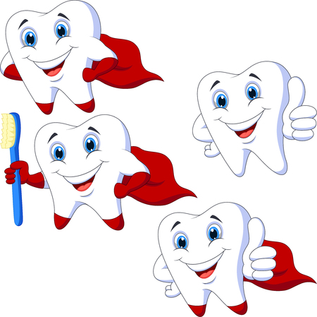 Cartoon teeth collection set Illustration