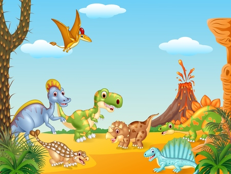 Vector illustration of Cartoon happy dinosaurs with volcano