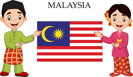 Vektorillustration des Karikatur-Malaysia-Paares, das traditionelles Kostüm trägt