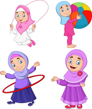 Vector illustration of Cartoon Muslim girls with different hobbies Çizim