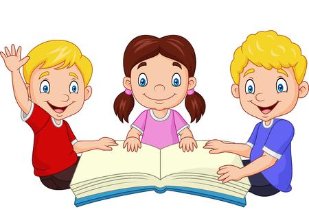 Vector illustration of Cartoon happy kids reading a book