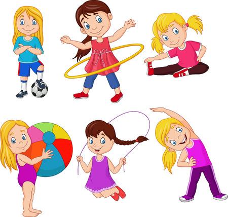 Illustration vectorielle de dessin animé petites filles avec différents passe-temps