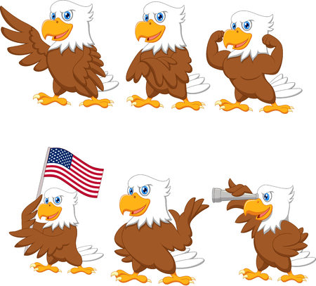 Vector illustration of Cartoon eagles collection set Vectores