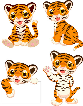 Vector illustration of Cartoon baby tigers collection set Illustration