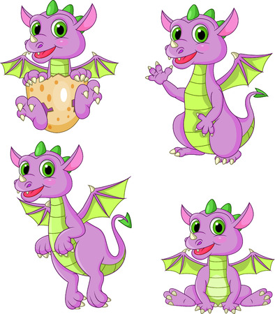 Vector illustration of Cartoon dragons collection set