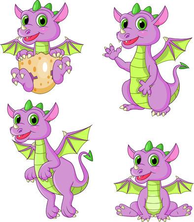 Illustration vectorielle de jeu de collection de dragons de dessin animé Vecteurs