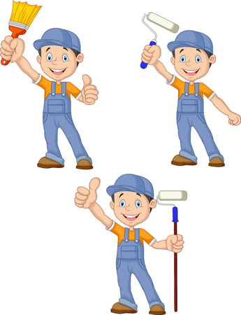 Vector illustration of Cartoon painters with equipment brush collection set
