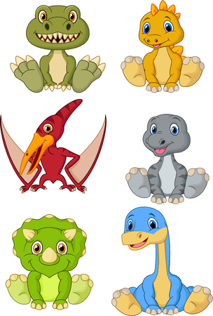 Vector illustration of Cute baby dinosaurs cartoon collection set 版權商用圖片 - 106706360