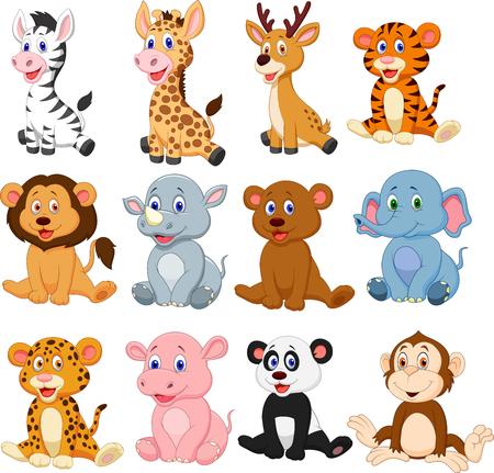 Vector illustration of Wild animals cartoon collection set Vettoriali