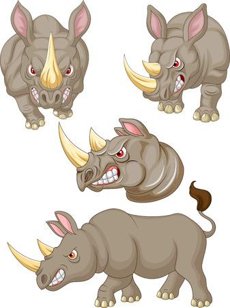 Ilustración de vector de dibujos animados enojado conjunto de colección de rinoceronte