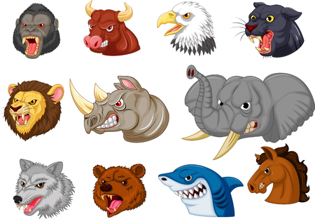 Vector illustration of Cartoon angry animals head collection set