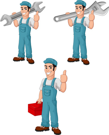 Vector illustration of Cartoon mechanic collection set Illustration