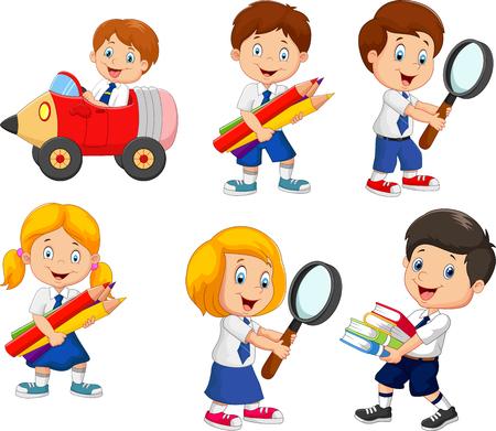 Vector illustration of Cartoon school children cartoon collection set
