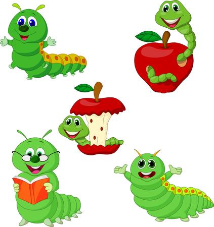 Vector illustration of Cartoon funny Caterpillar collection set Vector Illustration