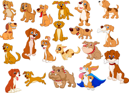 Vector illustration of Cartoon dogs collection 向量圖像