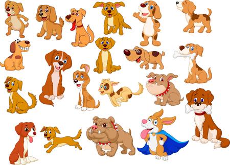 Vector illustration of Cartoon dogs collection Ilustração