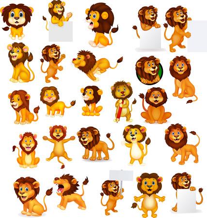 Ilustración de vector de conjunto de colección de León de dibujos animados