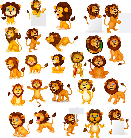 Vector illustration of Cartoon lion collection set Vectores